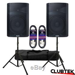 2 x Alto TX215 15 1200W Active PA Powered Pair Speakers + Stands Bag Leads UK
