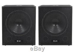 2 x QTX QT18SA 18 1000W Active Powered Subwoofer Bass Bin Speaker DJ Disco Pair