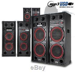 CHOICE Pair Powered Bluetooth USB Karaoke Party Speakers Dual 6.5-10 600W-1200W