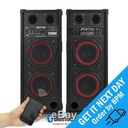 Fenton SPB-28 Dual 8 Active Bluetooth Powered Speaker Pair Karaoke DJ Party
