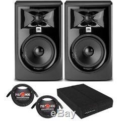 JBL 305P MkII BUNDLE Powered Studio Monitor Speaker PAIR with Pads + XLR Cables