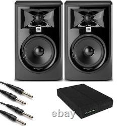 JBL 305P MkII Powered 5 Studio Monitor Pair with Isolation Pads and TRS Cables