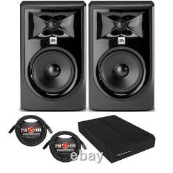 JBL 305P MkII Powered 5 Studio Monitor Pair with Isolation Pads and XLR Cables