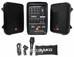 JBL EON208P Portable PA System / Pair 8 Speakers+Powered 8 Chan Mixer/Bluetooth