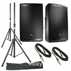 JBL EON615 Pair 2-Way Active Powered PA Speaker + Stands, Stand Bag & Cables