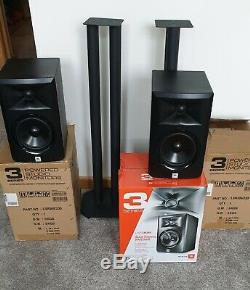 JBL LSR305P MKII Pair 5 Powered Active Studio DJ HiFi Monitor Speakers + Stands