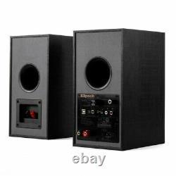 KLIPSCH R-41PM Active Powered Bluetooth Media HIFI Bookshelf Speakers Pair Black