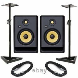 KRK Rokit RP7 G4 Pair Active Powered DJ Studio Monitor Speakers, Stands & Cables