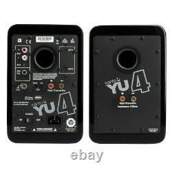 Kanto YU4 Active Powered Bookshelf Speakers Matte Black Bluetooth Pair