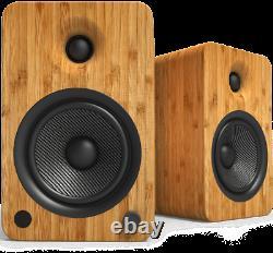 Kanto YU6 Active Speakers Powered Bookshelf Pair Bamboo Bluetooth Phone Amp