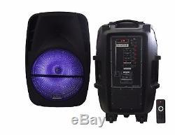 PAIR 15 Rechargable Battery Powered PA/DJ Speaker Bluetooth USB/FM RGB + Stand