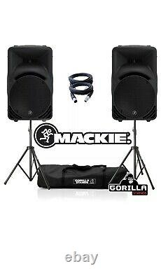 PAIR 2 Mackie SRM450 v3 1000W 12 Active Powered DJ Disco Speakers Leads & Stand