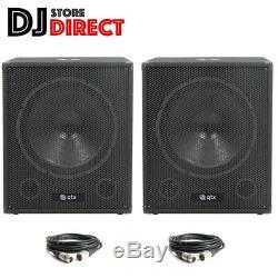 PAIR QTX Sound QT15SA 15 Active Powered 1200W Subwoofer Sub Bass Bin+ 2X6m XLR