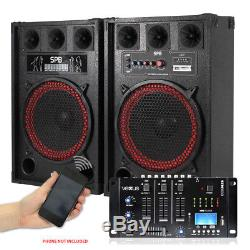 Pair 12 Active Powered Party Speakers Vexus Bluetooth MP3 SD USB Mixer 800W
