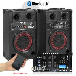 Pair 8 Powered Bluetooth Party Speakers with Vexus MP3 USB Mixer 400W