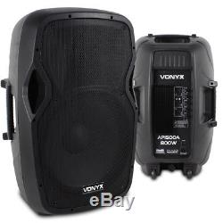 Pair Active Powered 15 Inch DJ Disco PA Speaker SystemVonyx AP1500A 1600W Max