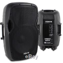 Pair Active Powered 15 Inch PA Speaker SystemVonyx AP1500A 1600W Max SSC2655