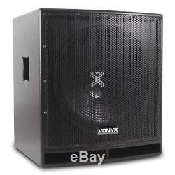 Pair Active Powered AP-12 DJ PA Speakers + 15 Bass Bin Subwoofers2800w Peak