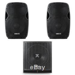 Pair Active Powered AP-12 DJ PA Speakers with 15 Bass Bin Subwoofer2000w Peak