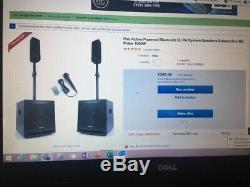 Pair Active Powered Bluetooth DJ PA System Speakers Subwoofers Mic Poles 1000w