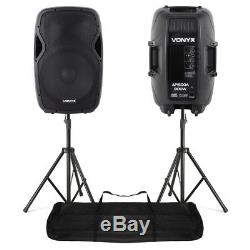 Pair Active Powered PA Speaker System StandsVonyx AP1500A 15 1600W SSC2658