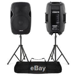 Pair Active Powered PA Speaker System StandsVonyx AP1500A 15 1600W UK Stock