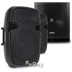 Pair Active Powered RS-15 DJ PA Speakers with 18 Bass Bin Subwoofer2800w Peak
