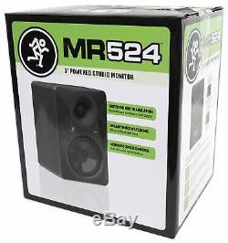 Pair Mackie MR524 5 50 Watt Powered Active Studio Monitor Speakers+21 Stands