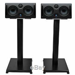 Pair Presonus ERIS E44 85w Active Powered Dual 4 MTM Studio Monitors+21 Stands