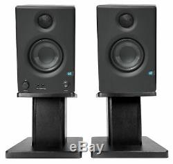 Pair Presonus Eris E3.5 3.5 Powered Studio Monitors Speakers+Wood Desk Stands