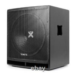 Pair Pro 15 Active Powered Subwoofer Bass Bin DJ Disco PA Sub Speaker 1600W