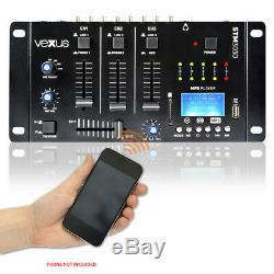 Pair RS-12 Active Powered DJ PA Speakers Vexus USB SD MP3 Bluetooth Mixer 1200W