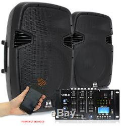 Pair RS-15 Active Powered DJ PA Speakers Vexus USB SD MP3 Bluetooth Mixer 1600W