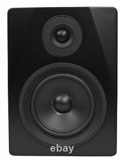 Pair Rockville APM5B 5.25 250W Powered USB Studio Quality Bookshelf Speakers