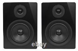 Pair Rockville APM5B 5.25 2-Way 250W Powered USB Studio Monitors+Stands+Pads