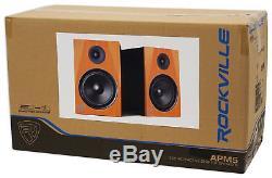 Pair Rockville APM5C 5.25 2-Way 250W Powered USB Studio Monitors+Stands+Pads