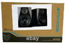 Pair Rockville APM6B 6.5 350W Powered Studio Monitors+Stands+Pads+Headphones