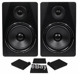 Pair Rockville APM8B 8 2-Way 500 Watt Powered USB Studio Monitor Speakers+Pads