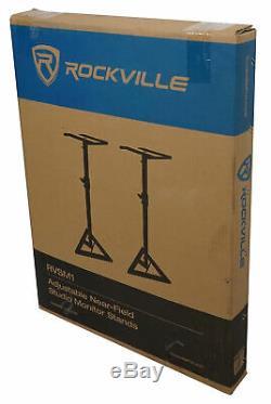 Pair Rockville APM8B 8 2-Way 500 Watt Powered USB Studio Monitors+Stands+Pads