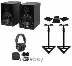 Pair Rockville APM8B 8 500W Powered Studio Monitors+Stands+Pads+Headphones
