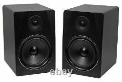 Pair Rockville APM8B 8 500 Watt Powered USB Studio Monitor Speakers+37 Stands