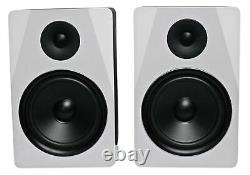 Pair Rockville APM8W 8 2-Way 500 Watt Powered USB Studio Monitor Speakers+Pads