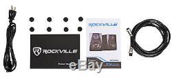 Pair Rockville APM8W 8 500W Powered Studio Monitors+Stands+Pads+Headphones
