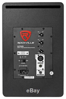 Pair Rockville DPM8B 8 2-Way 300W Black Active/Powered Studio Monitor Speaker
