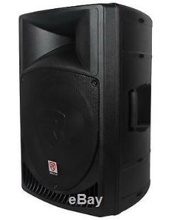 Pair Rockville Power Gig RPG15 15 Powered Active 2000 Watt 2-Way DJ PA Speakers