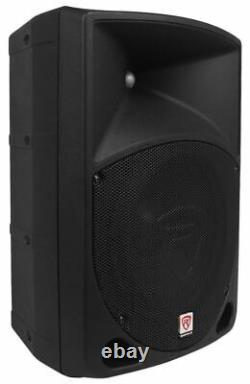 Pair Rockville RPG10 10 1200w Powered PA/DJ Speakers + 2 Stands + 2 Cables+Bag