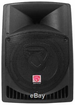 Pair Rockville RPG12 12 1600w Powered PA/DJ Speakers + 2 Stands + 2 Cables+Bag