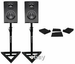 Pair Samson M50 5 Powered Studio Reference Monitors Speakers+Stands+Pads