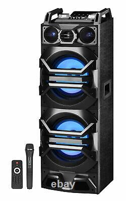 Pair Technical Pro Dual 10 Powered 3000w Bluetooth Speakers withUSB/SD/LED+Mic
