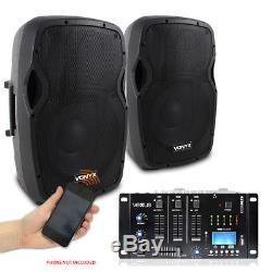 Pair Vonyx 12 Active Powered DJ PA Speakers & Bluetooth MP3 SD USB Mixer 1200W
